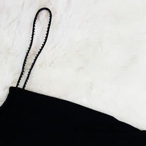 Black Straight Neckline Mini Dress
